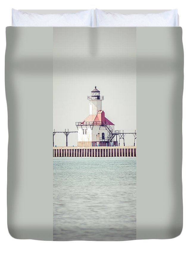 House Duvet Cover featuring the photograph St. Joseph Lighthouse Vertical Panorama Photo by Paul Velgos