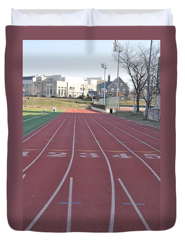 St Josephs Duvet Cover featuring the photograph St Josephs University Track by Bill Cannon
