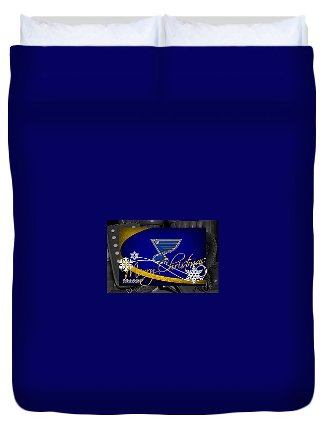 Blues Duvet Cover featuring the photograph St Louis Blues Christmas by Joe Hamilton