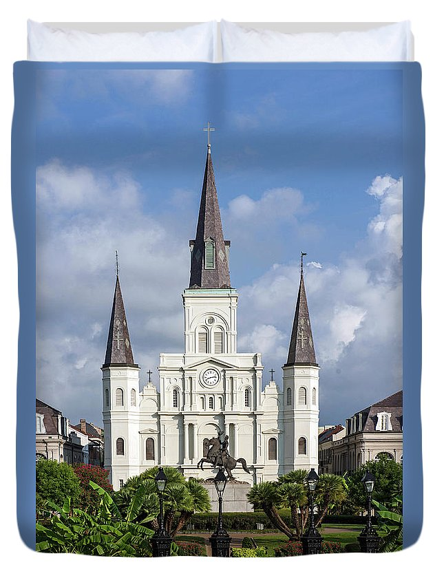 Horse Duvet Cover featuring the photograph St. Louis Cathedral In Jackson Square by Amritendu Maji