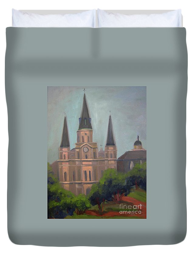 New Orleans Duvet Cover featuring the painting St. Louis Cathedral by Lilibeth Andre