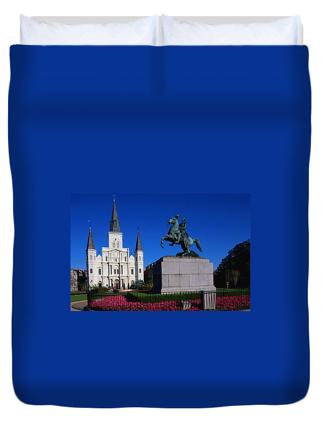 Horse Duvet Cover featuring the photograph St Louis Cathedral With Statue Of by John Elk