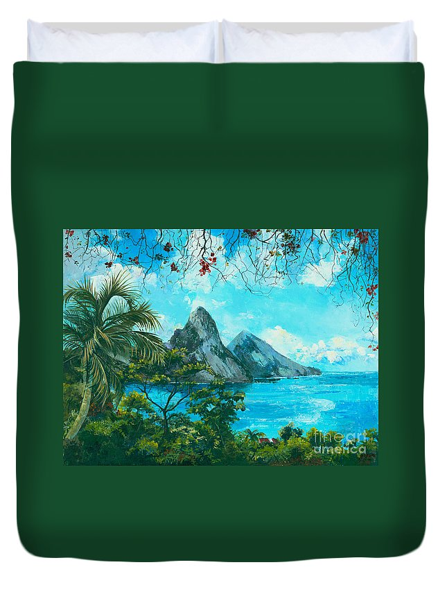 Mountains Duvet Cover featuring the painting St. Lucia - W. Indies by Elisabeta Hermann