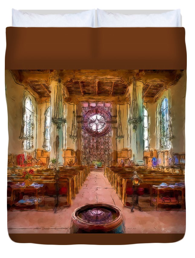 St. Marks Cathedral Duvet Cover featuring the painting St. Marks Cathedral 1 by Mike Penney