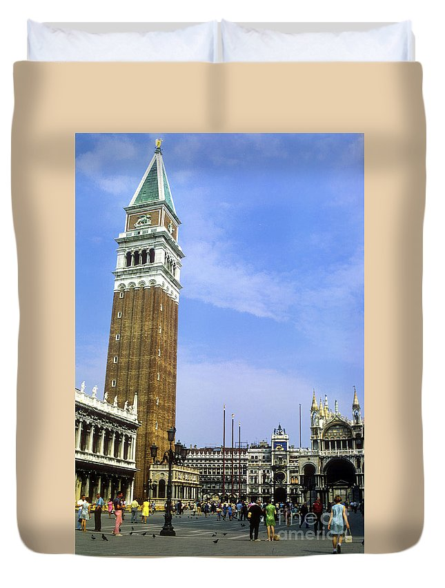Saint Mark Square Tower Towers Cathedral Cathedral Person Persons People Bird Birds Pigeon Pigeons St. Mark's Square Saint Mark's Square City Cities Building Buildings Structure Structures Architecture Cityscape Cityscapes Venice Italy Landmark Landmarks Duvet Cover featuring the photograph St. Mark's Square by Bob Phillips