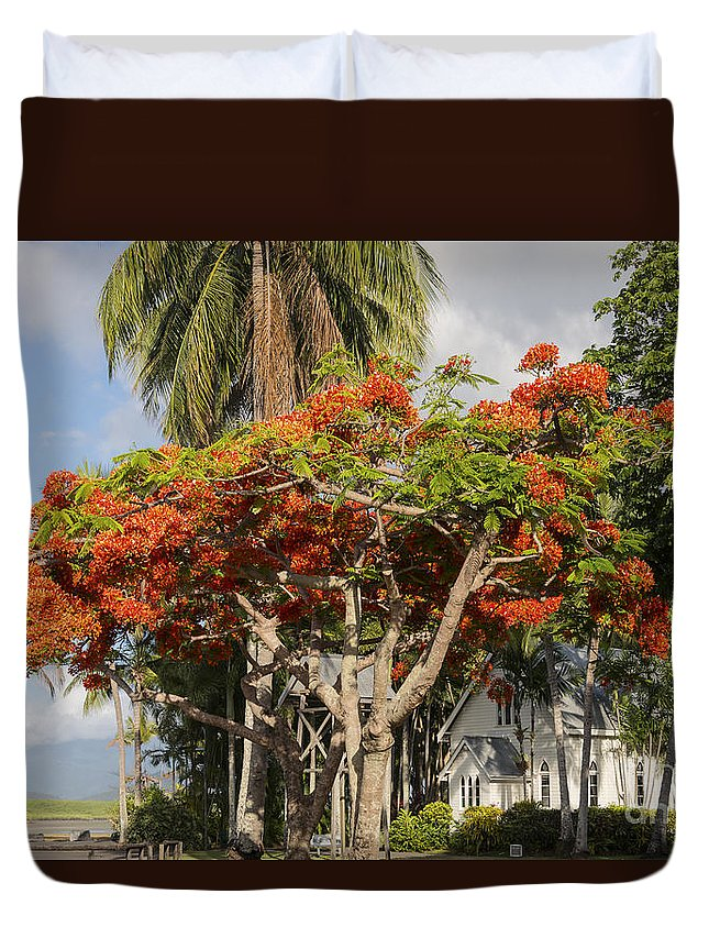 Port Douglass Australia Saint Mary's By The Sea St. Mary Church Churches Architecture Structure Structures Building Buildings Palm Tree Palms Trees Australian Poinciana Bloom Blooms Flower Flowers Poincianas Place Places Of Worship Landscape Landscapes Duvet Cover featuring the photograph St. Mary's By The Sea by Bob Phillips
