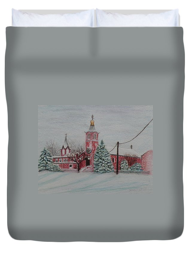 Prismacolor Pencil Duvet Cover featuring the drawing St. Nicholas Church Roebling New Jersey by Lora Duguay