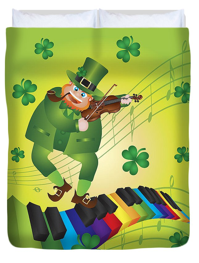 St Patricks Duvet Cover featuring the photograph St Patricks Day Leprechaun Dancing On Piano Keyboard by Jit Lim