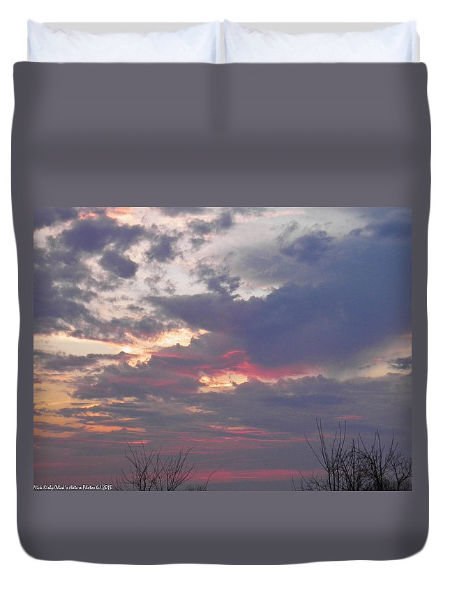 Sunset Duvet Cover featuring the photograph St Patty's Sunset by Nick Kirby
