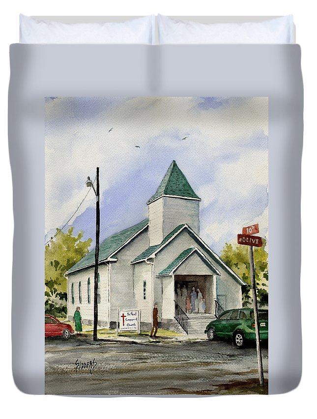 Church Duvet Cover featuring the painting St. Paul Congregational Church by Sam Sidders