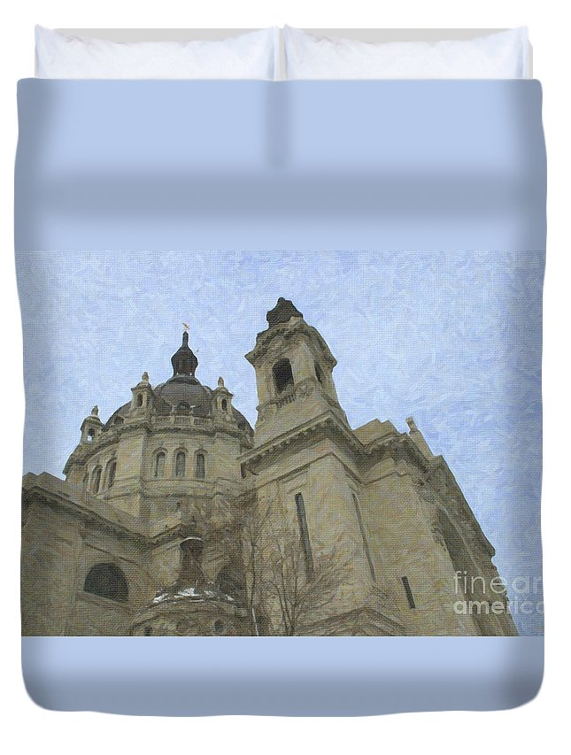 Cathedral Oil Painting Duvet Cover featuring the painting St. Paul's Cathedral by David Millenheft