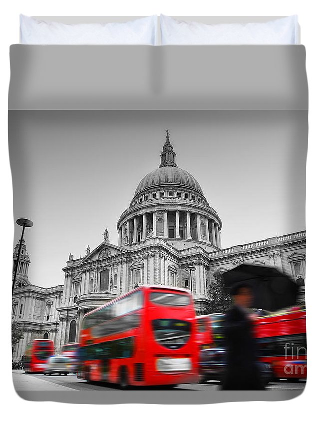 London Duvet Cover featuring the photograph St Pauls Cathedral In London Uk Red Buses In Motion by Michal Bednarek