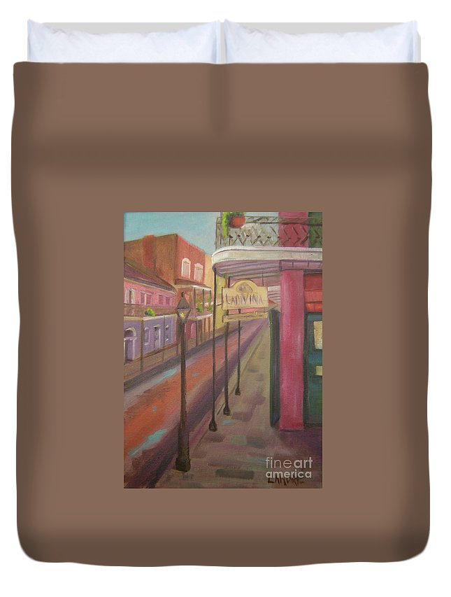 New Orleans Duvet Cover featuring the painting St. Peter Street by Lilibeth Andre