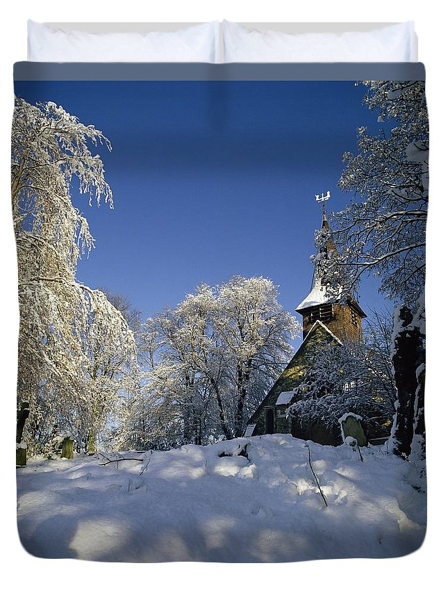 Tree Duvet Cover featuring the photograph St Peter's Church In The Snow by Robert Hallmann