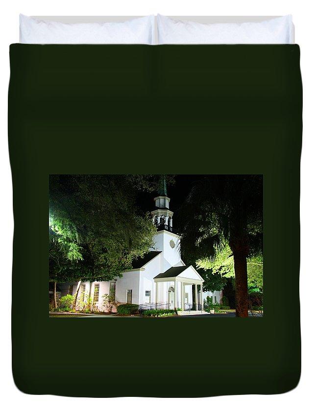 Church Duvet Cover featuring the photograph St Simons Island Presbyterian Church by Kathryn Meyer