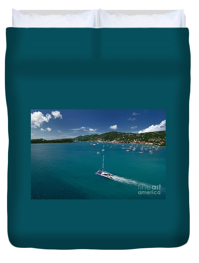 Azure Duvet Cover featuring the photograph St Thomas Usvi by Amy Cicconi