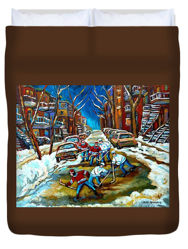 Montreal Duvet Cover featuring the painting St Urbain Street Boys Playing Hockey by Carole Spandau