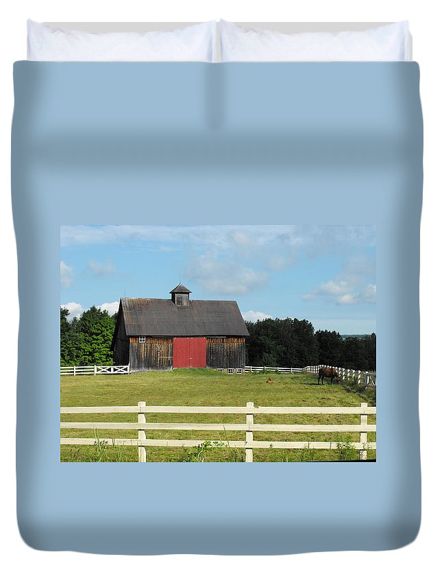 Corral Duvet Cover featuring the photograph Stable by Dominic Labbe