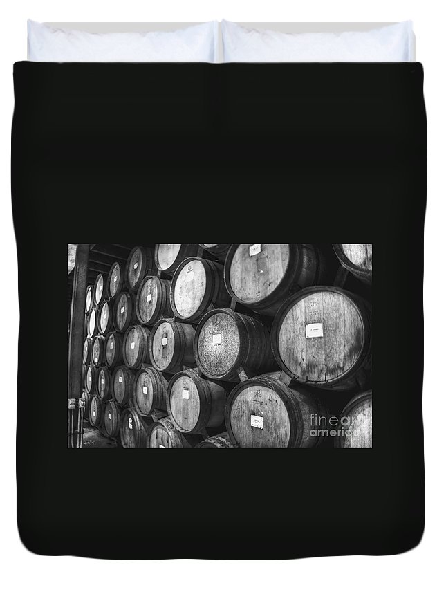 Barrels Duvet Cover featuring the photograph Stacked Barrels by Diego Re