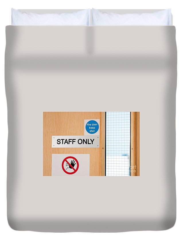 Staff Duvet Cover featuring the photograph Staff Only Signs At Laboratory by Luis Alvarenga