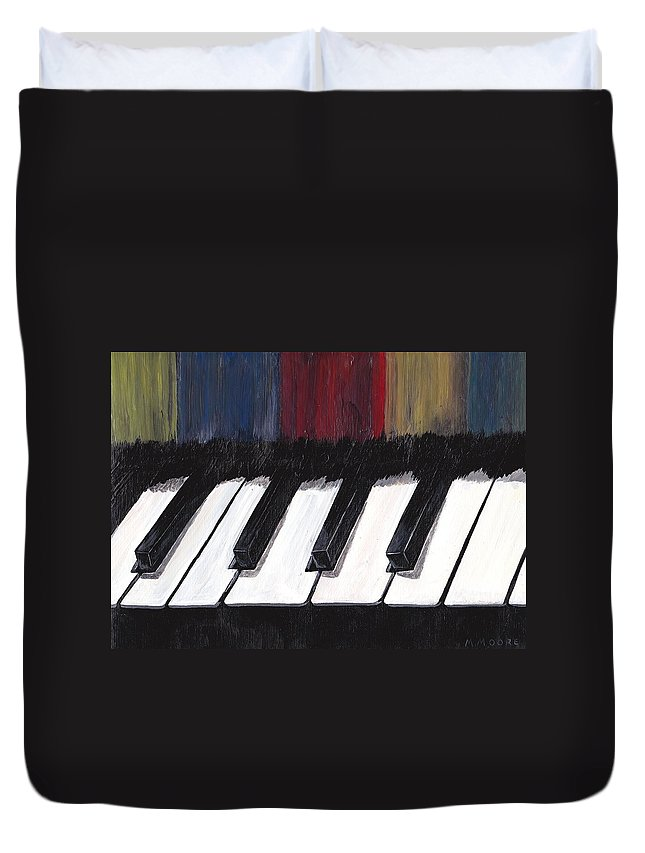 Piano.music Duvet Cover featuring the painting Stage Fright by Mark Moore