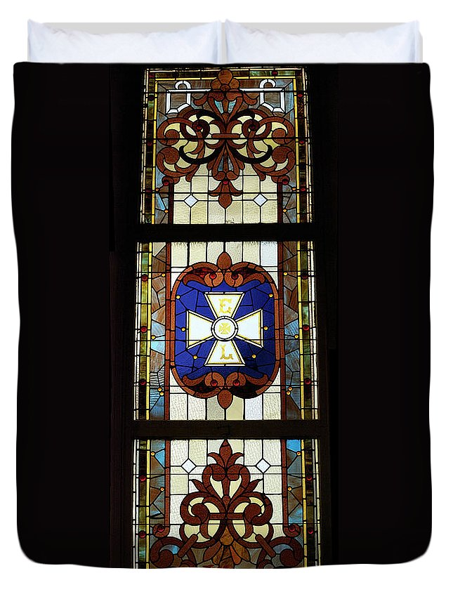 Composite Duvet Cover featuring the photograph Stained Glass 3 Panel Vertical Composite 01 by Thomas Woolworth