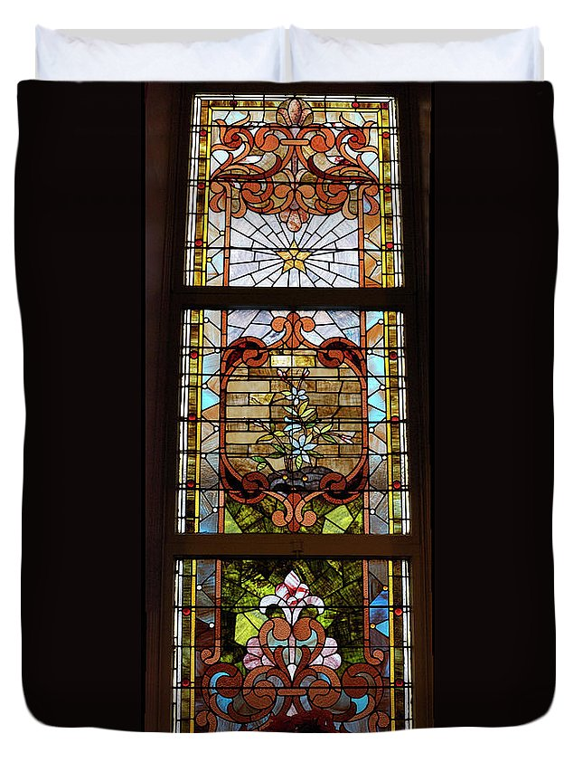 Composite Duvet Cover featuring the photograph Stained Glass 3 Panel Vertical Composite 02 by Thomas Woolworth
