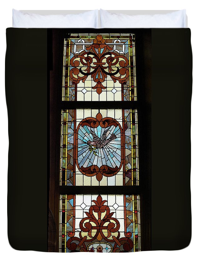 Composite Duvet Cover featuring the photograph Stained Glass 3 Panel Vertical Composite 03 by Thomas Woolworth