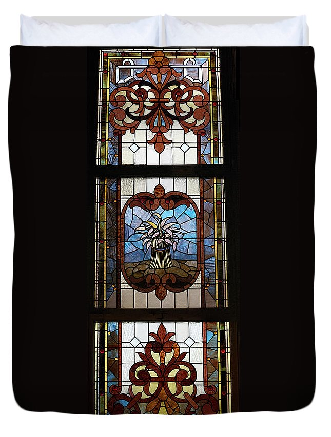 Composite Duvet Cover featuring the photograph Stained Glass 3 Panel Vertical Composite 04 by Thomas Woolworth