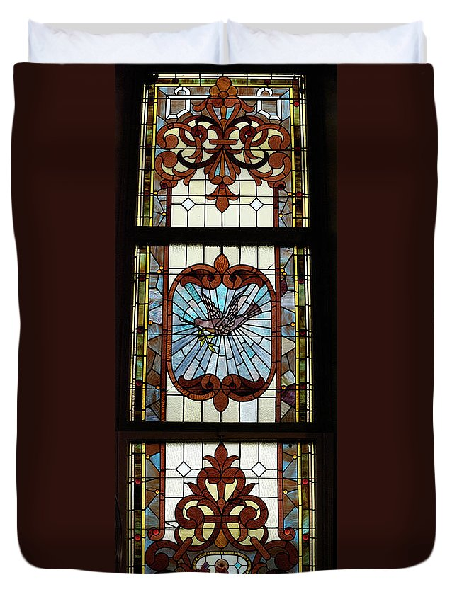 Composite Duvet Cover featuring the photograph Stained Glass 3 Panel Vertical Composite 05 by Thomas Woolworth