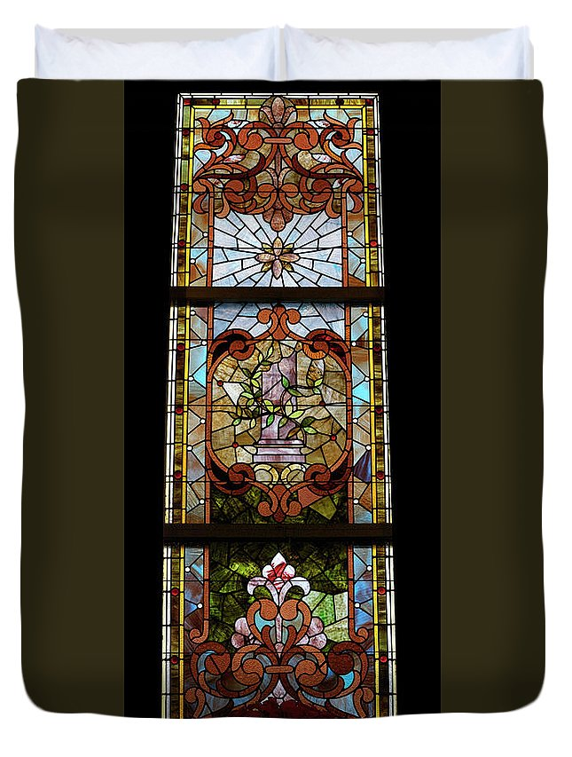 Composite Duvet Cover featuring the photograph Stained Glass 3 Panel Vertical Composite 06 by Thomas Woolworth