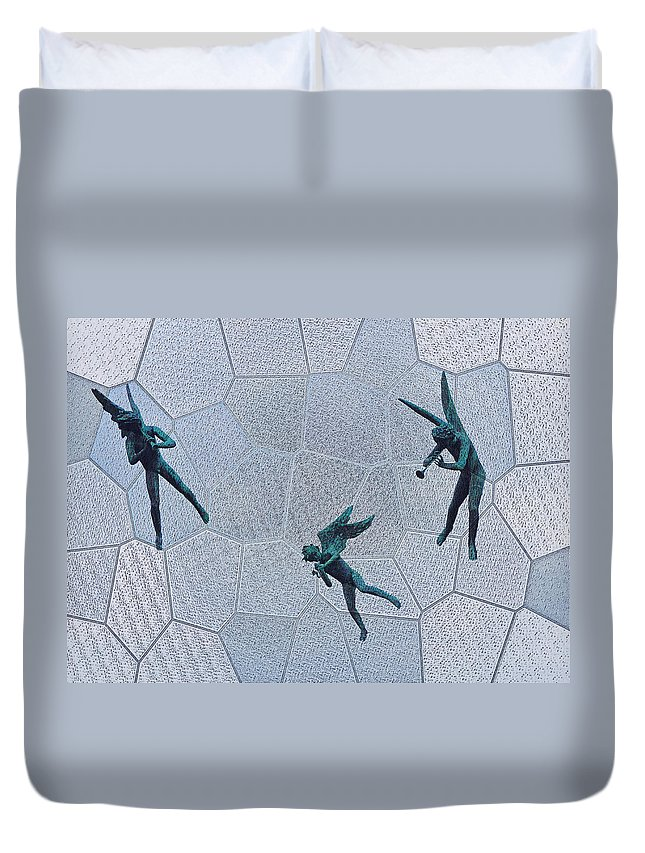 Stained Duvet Cover featuring the photograph Stained Glass Angels by Bill Cannon