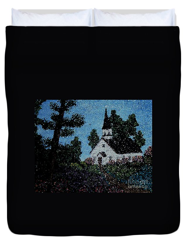 Stained Glass Church Scene Duvet Cover featuring the photograph Stained Glass Church Scene by Barbara Griffin