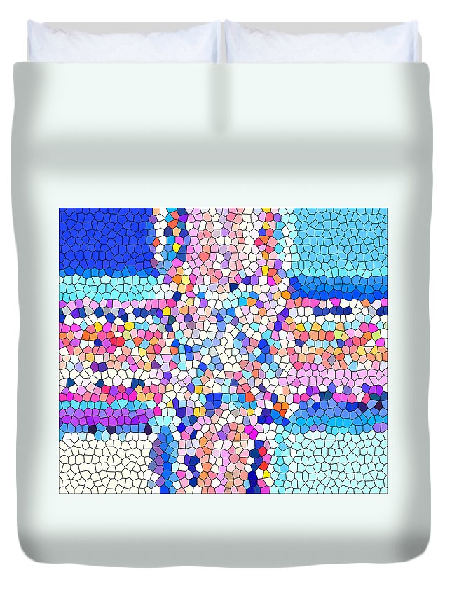 Stained Glass Colorful Cross Duvet Cover featuring the photograph Stained Glass Colorful Cross by Barbara Griffin