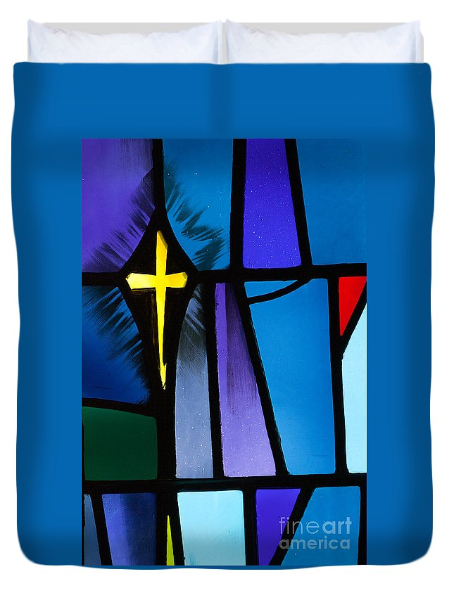 Christ Duvet Cover featuring the photograph Stained Glass Cross by Karen Lee Ensley