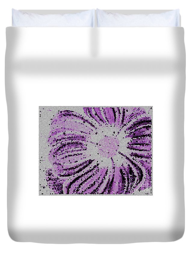 Stained Glass Flower With Purple Stripes Duvet Cover featuring the photograph Stained Glass Flower With Purple Stripes by Barbara Griffin