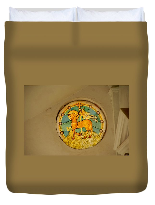 Church Duvet Cover featuring the digital art Stained Glass In Colva by Carol Ailles