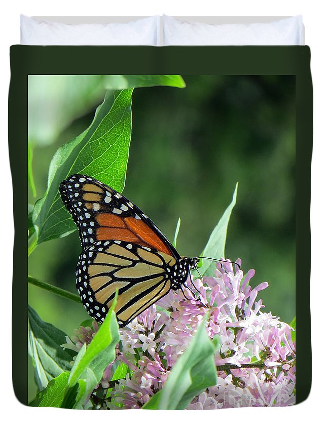 Bug Duvet Cover featuring the photograph Marvelous Monarch by Jaunine Roberts