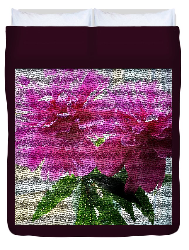 Stained Glass Peonies Duvet Cover featuring the photograph Stained Glass Peonies by Barbara Griffin