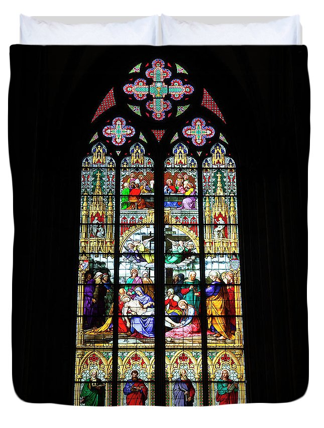 Gothic Style Duvet Cover featuring the photograph Stained Glass Window In Cologne by Julian Elliott Photography