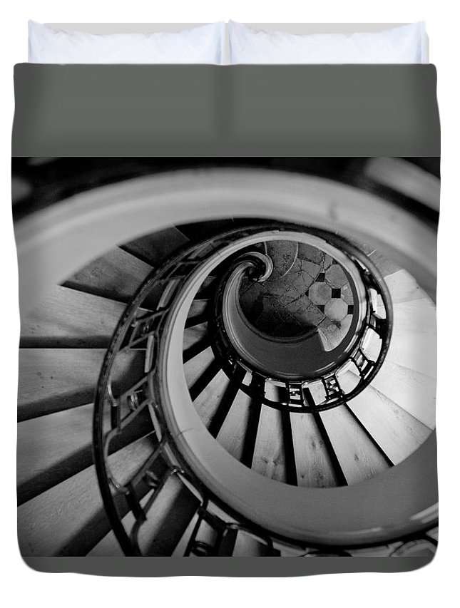 B&w Duvet Cover featuring the photograph Staircase by Sebastian Musial