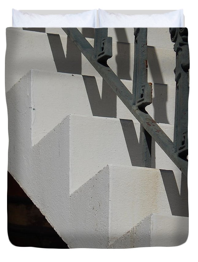 Michael Hoard Photography Duvet Cover featuring the photograph Stairs With Shadow by Michael Hoard