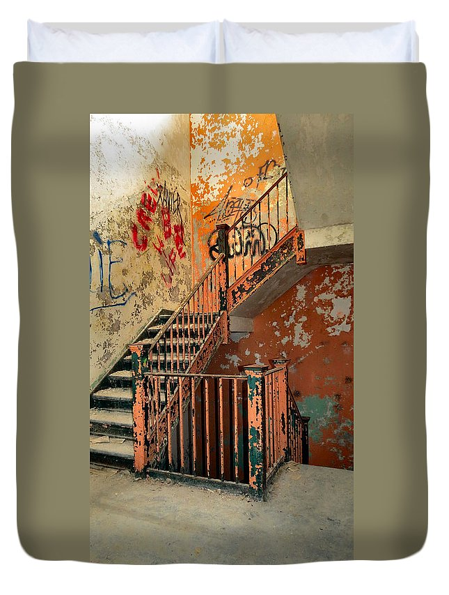 Heart Duvet Cover featuring the photograph Stairway To Heaven by Art Dingo