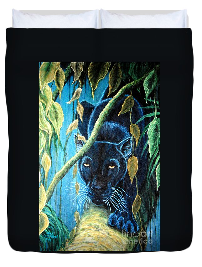 Black Panther Duvet Cover featuring the painting Stalking Black Panther by Nick Gustafson