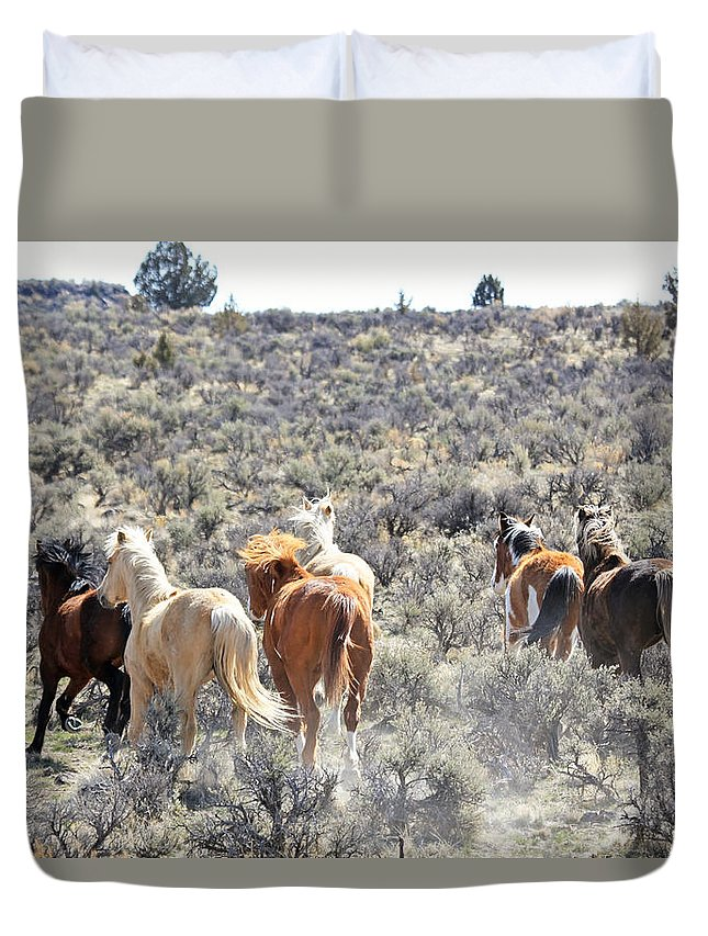 Horses Duvet Cover featuring the photograph Stampede Of Wild Horses by Athena Mckinzie