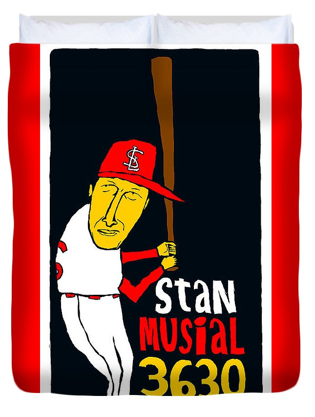 Stan Musial Duvet Cover featuring the mixed media Stan Musial St Louis Cardinals by Jay Perkins