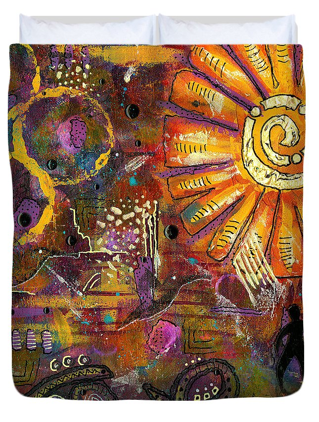 Acrylic Duvet Cover featuring the mixed media Standing On Hope by Angela L Walker