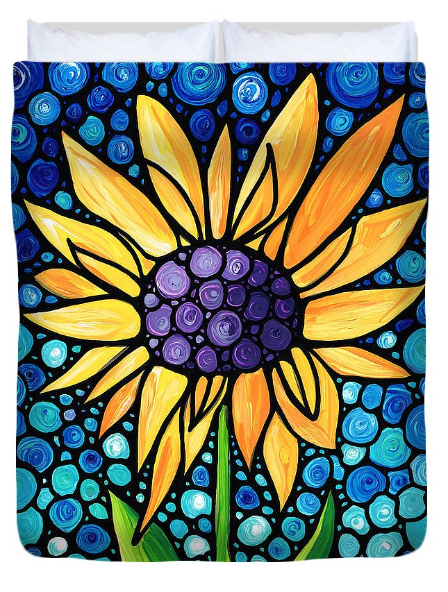 Sunflower Duvet Cover featuring the painting Standing Tall - Sunflower Art By Sharon Cummings by Sharon Cummings