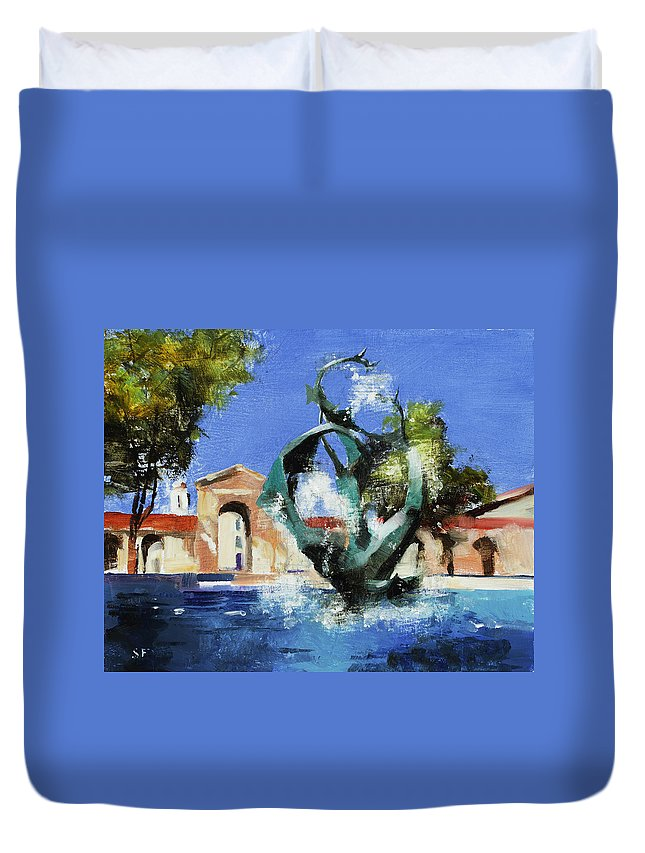 Stanford Duvet Cover featuring the painting Stanford Claw by Stan Fellows