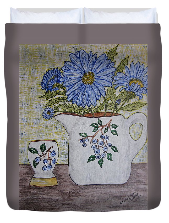 Stangl Blueberry Pottery Duvet Cover featuring the painting Stangl Blueberry Pottery by Kathy Marrs Chandler